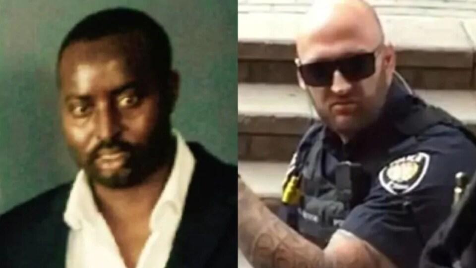 Une photo d'Abdirahman Abdi, à gauche, et du policier Daniel Montsion, à droite.