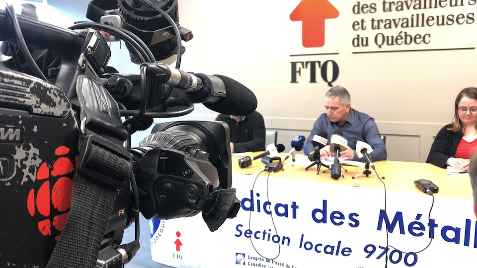 Point de presse de la section locale 9700 du Syndicat des métallos
