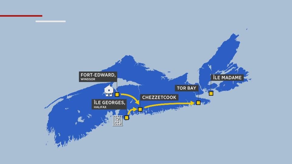 Carte de la Nouvelle-Écosse expliquant le mouvement de certains Acadiens.