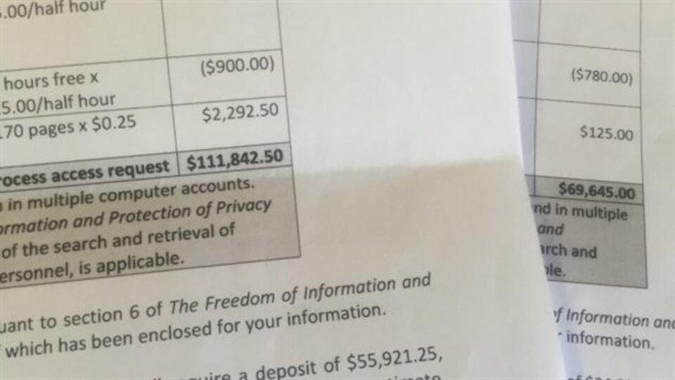 CBC Saskatchewan a reçu deux estimations de frais associés à des demandes d'accès à l'information qui ensemble s'élèvent à un peu plus de 180 000 $.