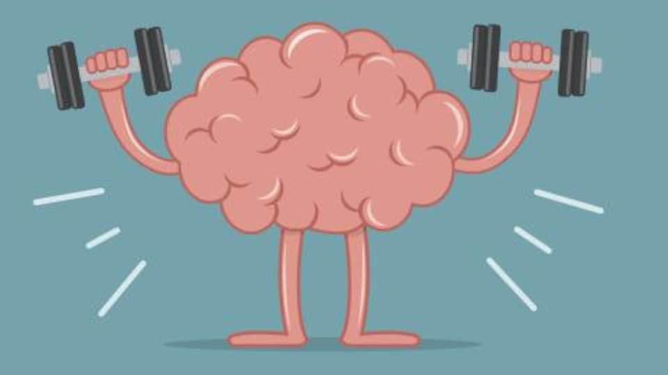 Un dessin d'un cerveau qui soulève des poids et haltères.