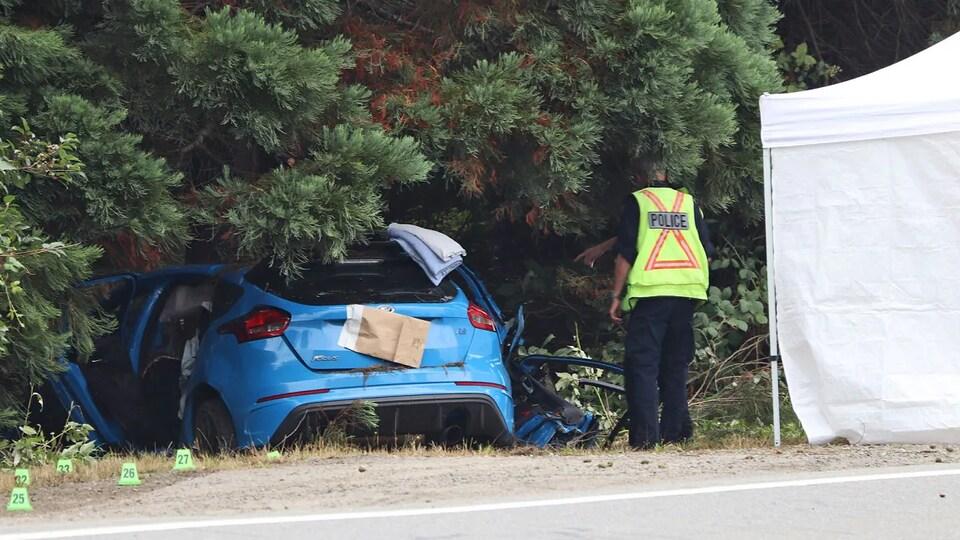 Une petite voiture se trouve dans un fossé sous les branches d'un gros arbre pendant qu'un policier se tient debout.
