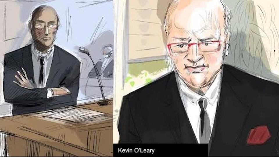 Une illustration judiciaire du procureur et du témoin de la défense.