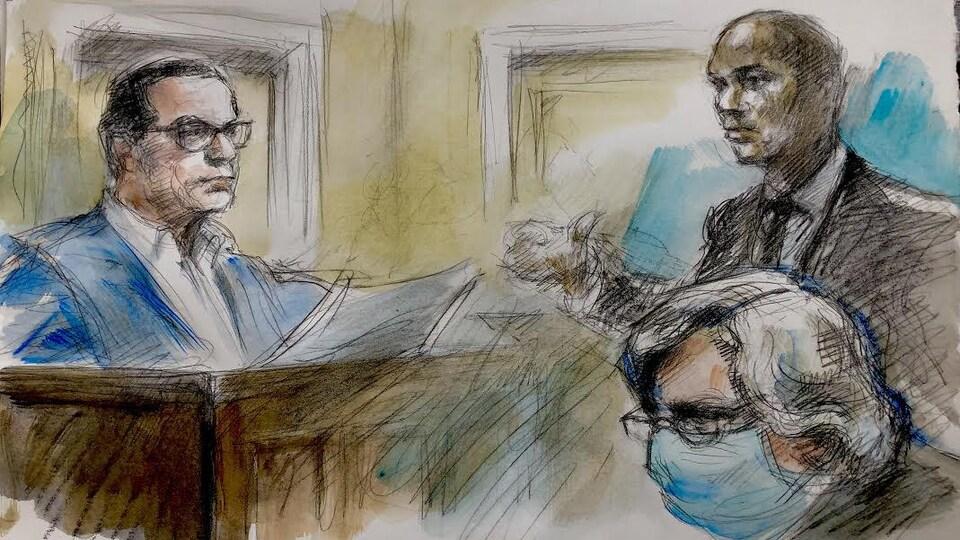 Une illustration judiciaire du Dr Edwards, de la Couronne et de la défense.