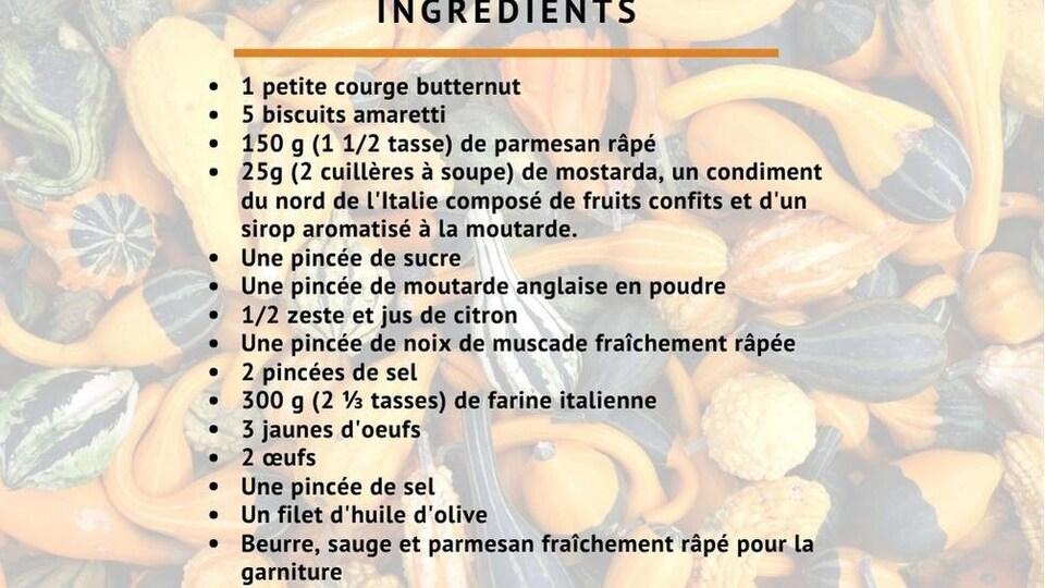 Une recette de cuisine.