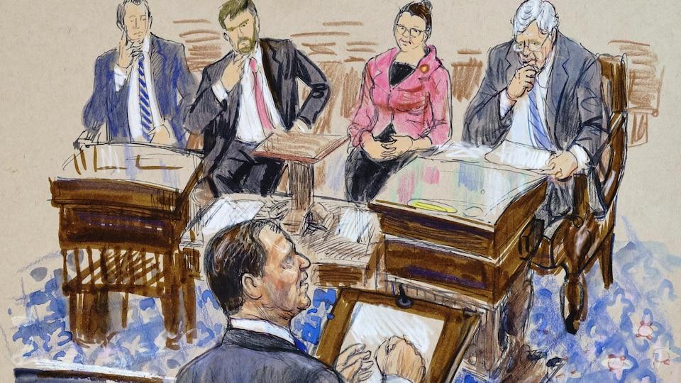 Illustration montrant Adam Schiff s'adressant aux sénateurs