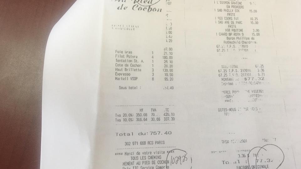 L'addition du restaurant parisien Au Pied de Cochon