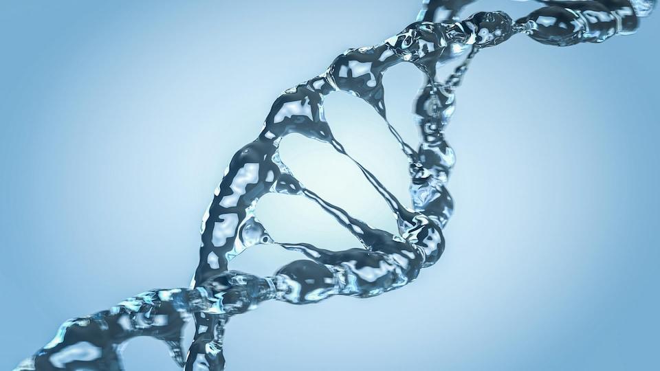 Représentation d'une double hélice d'ADN en glace.