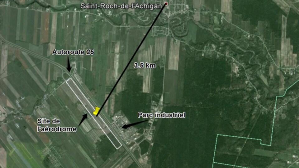 Une vue aérienne du projet.