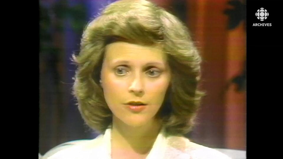 Marie-Andrée Leclerc, pensive, en entrevue à son retour au Québec.