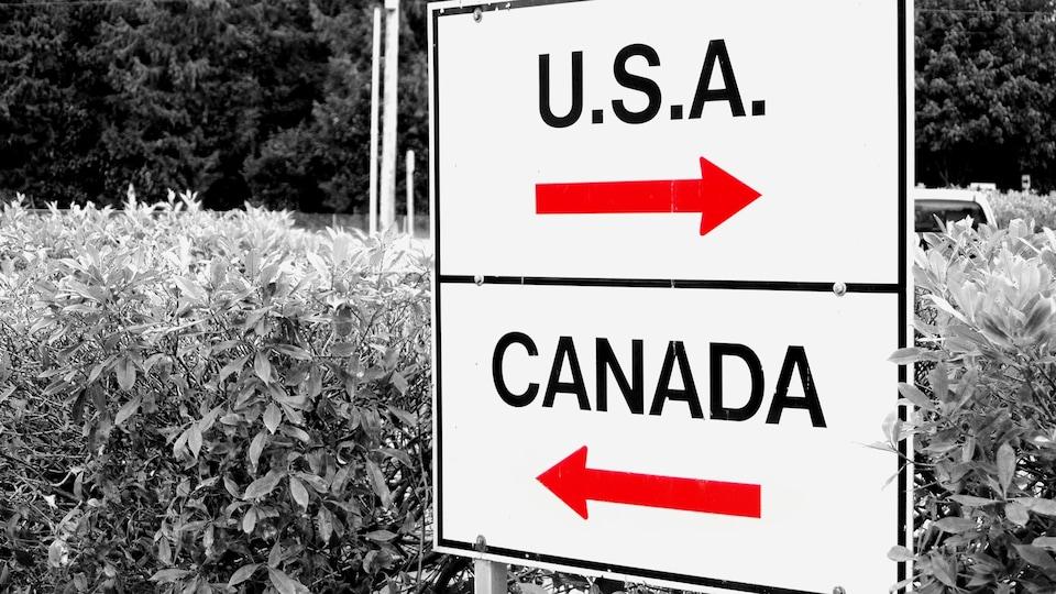 Une affiche montrant deux flèches indiquant les directions Canada/U.S.A
