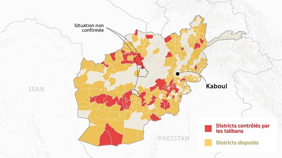 Carte de l'Afghanistan qui indique les districts contrôlés par les talibans et ceux qui sont disputés avec le gouvernement afghan.