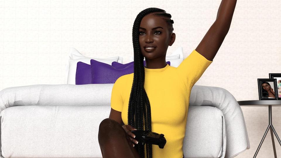 Un modèle en 3D d'une joueuse noire en train de jouer à un jeu vidéo au pied de son lit.