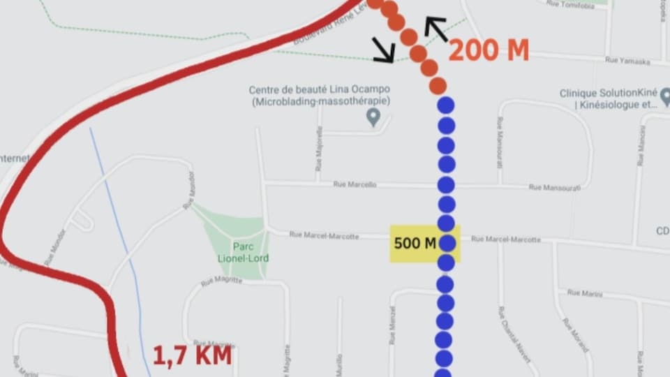 Schéma du possible prolongement du boulevard Mi-Vallon