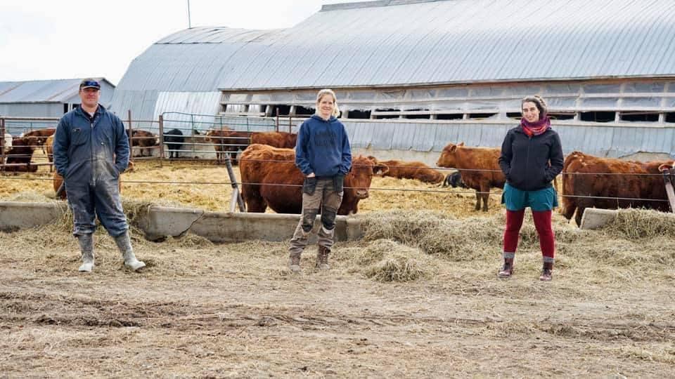 Un couple de producteurs agricoles et Émilise Lessard-Therrien sourient à la caméra devant un enclos de boeufs.