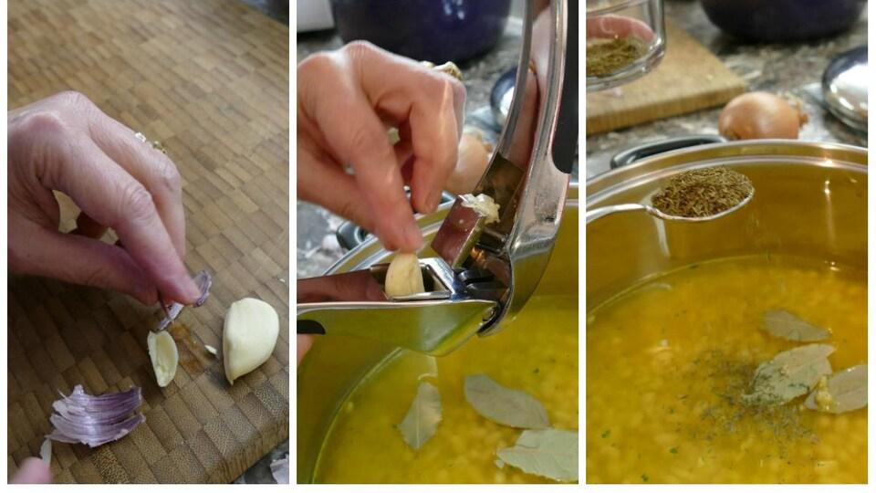 Une main pèle l'ail et la dépose dans le presse-ail au-dessus du chaudron. À l'aide d'une cuillère, on ajoute le thym séché.
