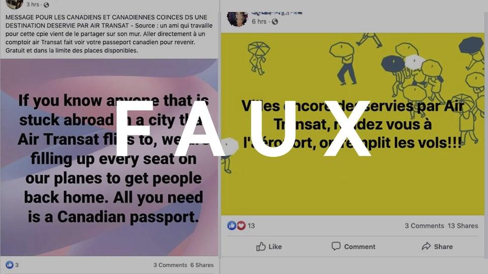 Deux publications Facebook sur des vols d'Air Transat avec le mot FAUX.