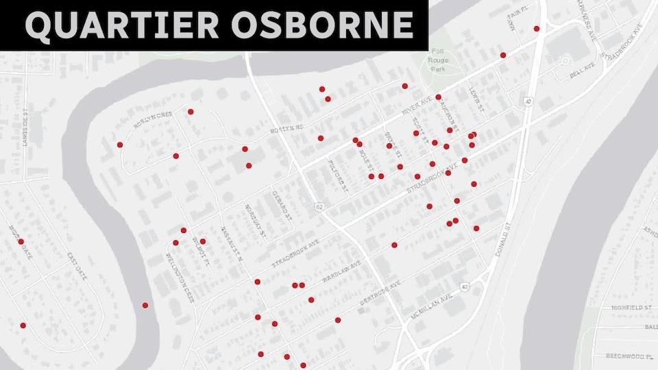 La carte des locations à Osborne