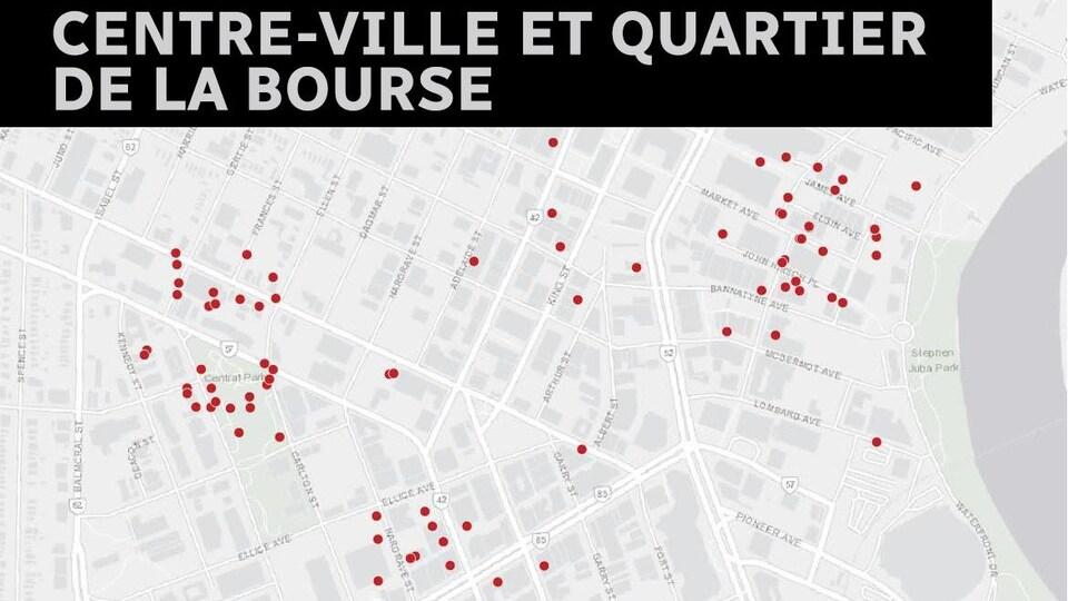 Une carte des logements Airbnb dans le quartier de la Bourse et du centre-ville.