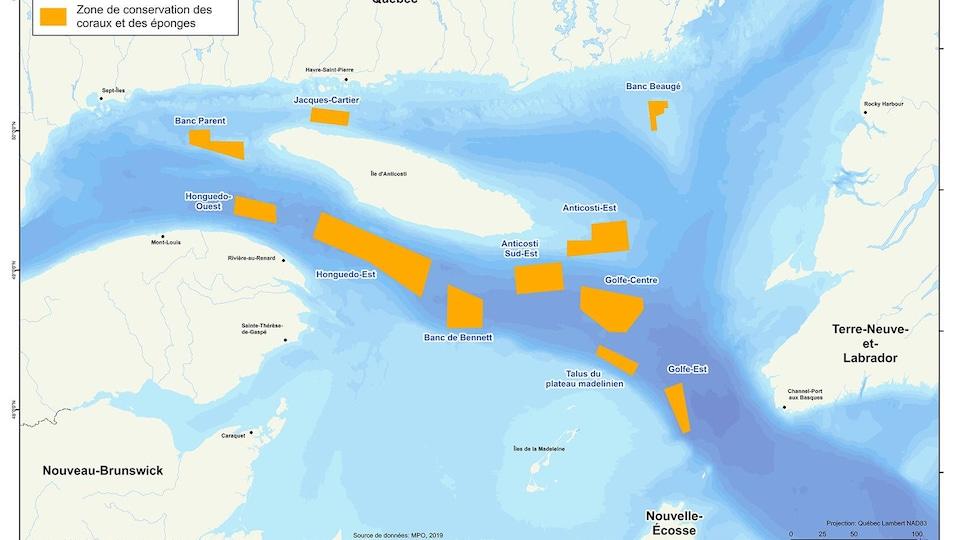 Carte du golfe où sont délimitées les 11 zones d'importance pour les plumes et les éponges.