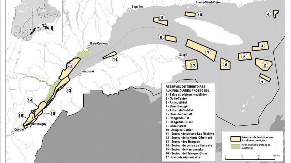 Carte de l'Est-du-Québec montrant les 17 réserves de territoires aux fins d'aires protégées.
