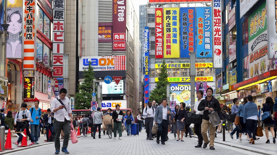 Une photo prise dans une rue du quartier Akihabara, à Tokyo, au Japon. On y voit des dizaines de personnes en train de marcher, dont plusieurs regardent leur téléphone. En arrière-plan et sur les côtés, on voit d'énormes panneaux colorés annonçant la présence de magasins.