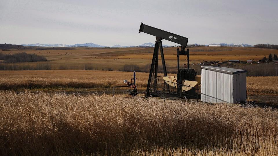 Un puits de pétrole abandonné au milieu de champs dans les collines proches des Rocheuses albertaines.