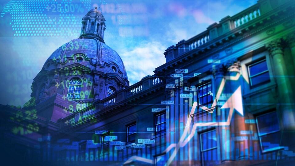 Superposition d'indicateurs numériques et de graphiques avec en fond le bâtiment de la législature albertaine.