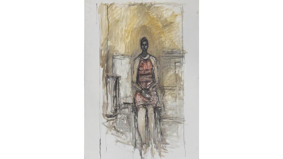 Alberto Giacometti, Caroline assise en pied, vers 1964-1965. Huile sur toile, 136 x 95 cm