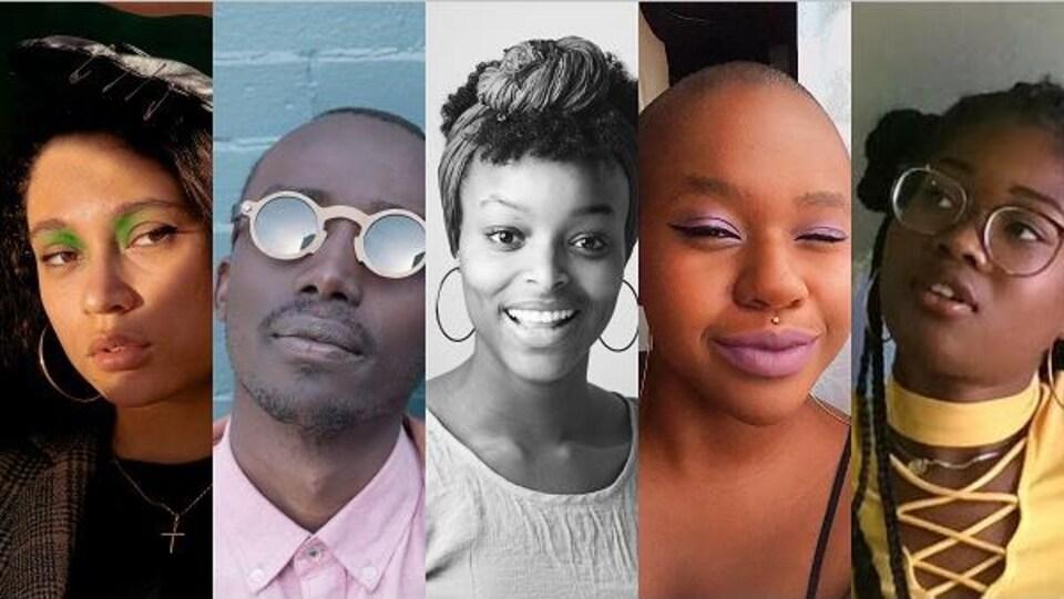 Montage des photos des cinq jeunes cinéastes.