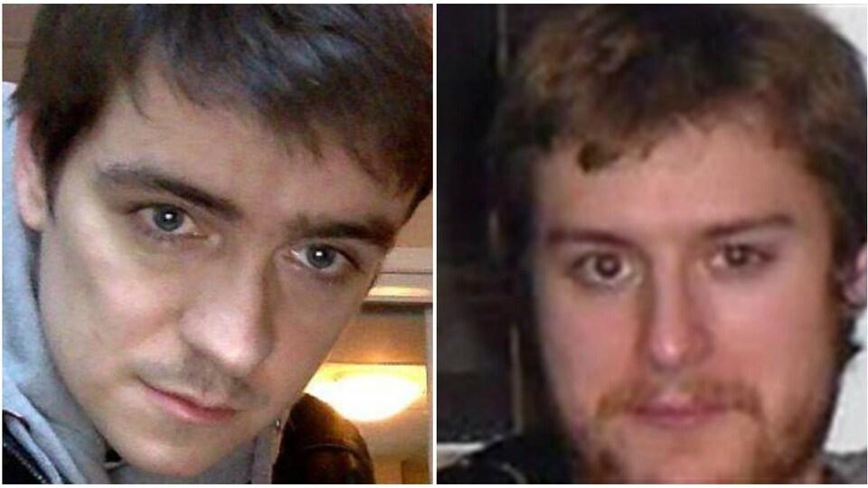 Un collage de photos du visage d'Alexandre Bissonnette et de Justin Bourque