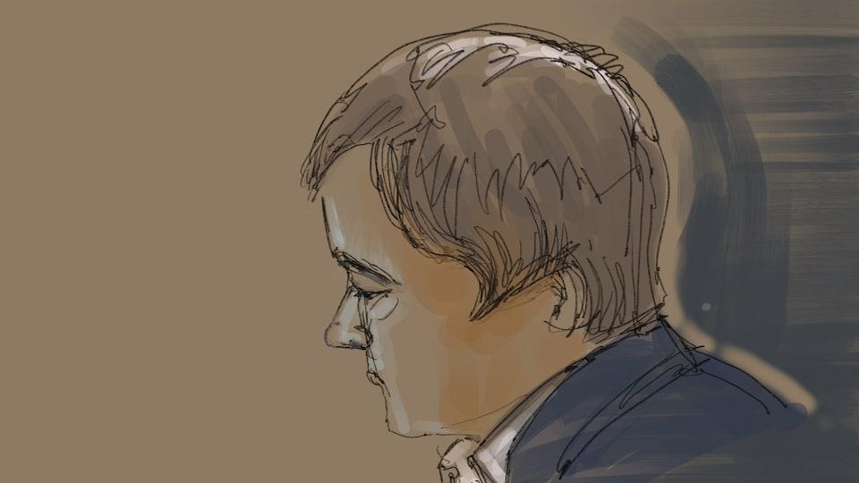 Dessin : Alexandre Bissonnette écoute le juge.