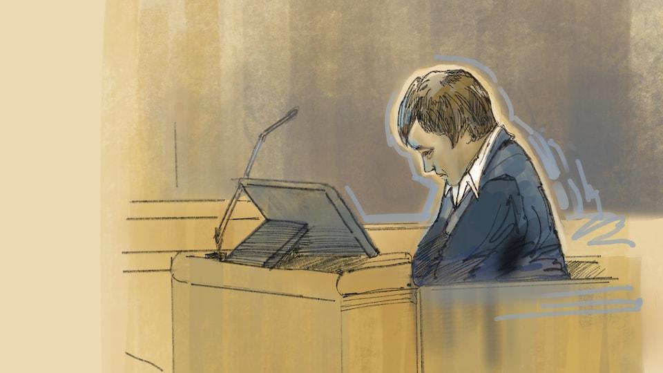 Dessin d'Alexandre Bissonnette qui écoute le juge lors de la lecture de son jugement.