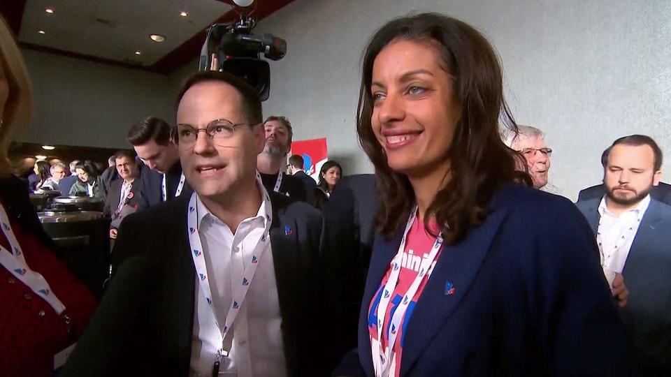 Les deux candidats à la chefferie du Parti libéral du Québec.