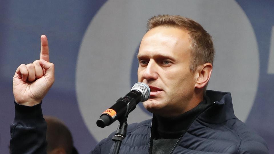 L'opposant russe Alexeï Navalny durant un discours.