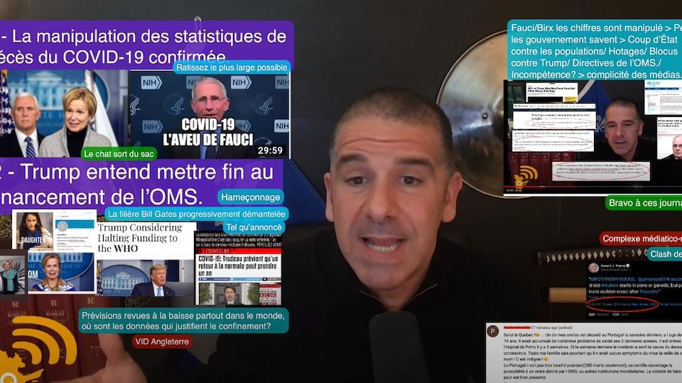 Alexis Cossette-Trudel entouré de coupures de journaux et d'énoncés de son cru dans une de ses vidéos.