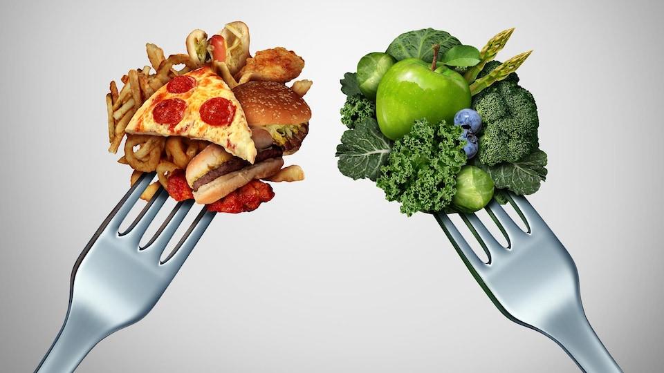 Deux fourchettes représentant la malbouffe vs les aliments frais