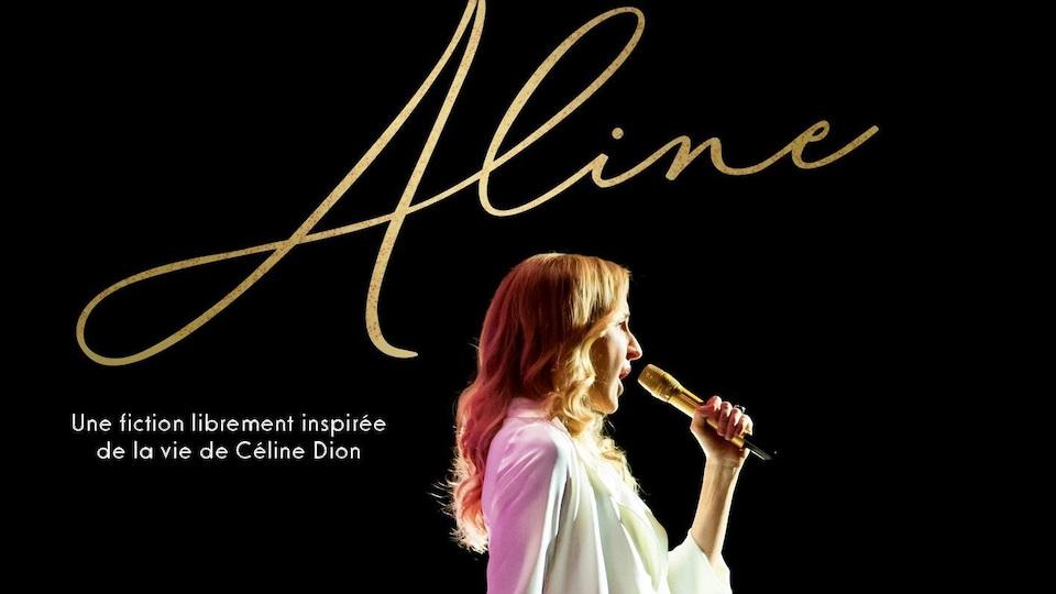 L'affiche du film est une photo de la comédienne en Céline Dion qui chante sur scène.
