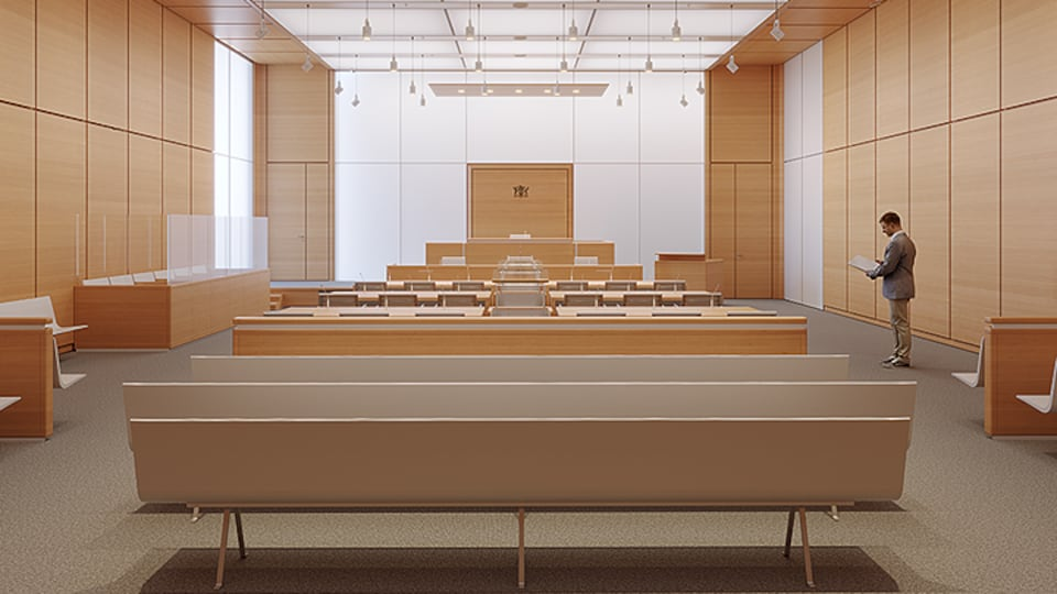 Une salle d'audience moderne.