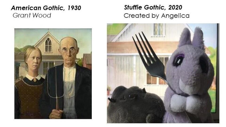 Une réplique de l'oeuvre American Gothic comprend une peluche munie d'une fourchette en plastique.