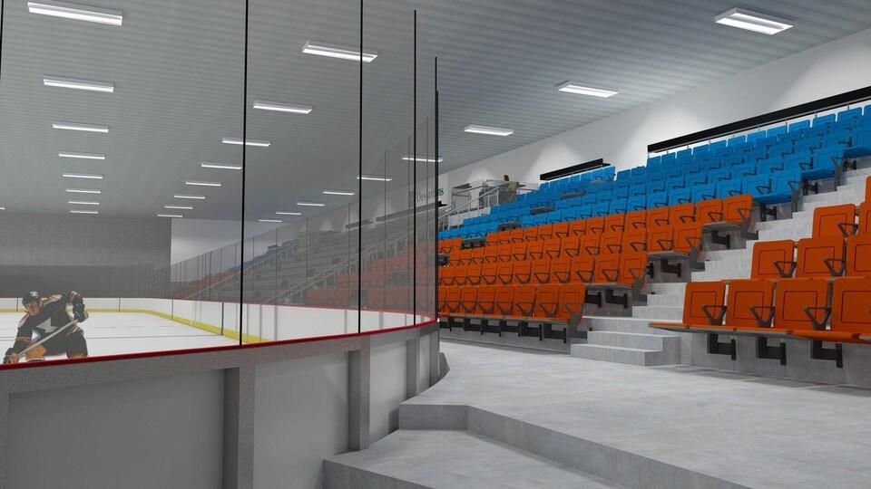 Le plan de l'intérieur du futur amphithéâtre de Mont-Joli.