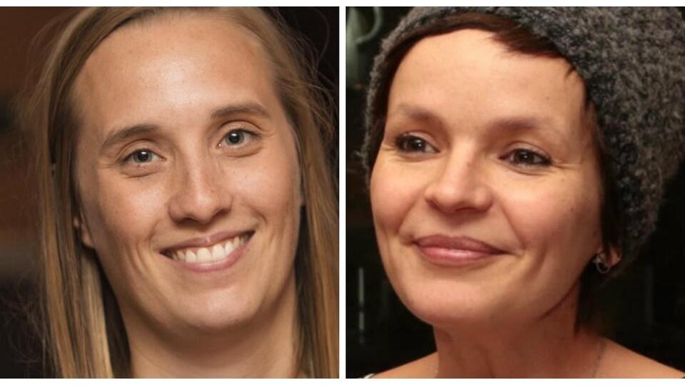 Les photos des deux femmes sont côte-à-côte.