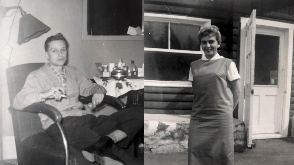 André est assis et Carmen est debout devant une maison.