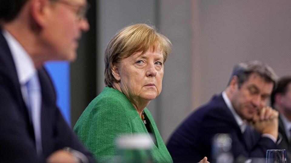 Angela Merkel en conférence de presse.