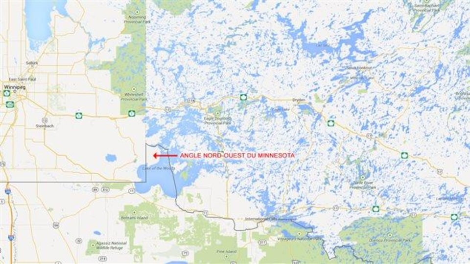 Une carte qui montre un territoire à l'intersection de l'Ontario, du Manitoba et du Minnesota.