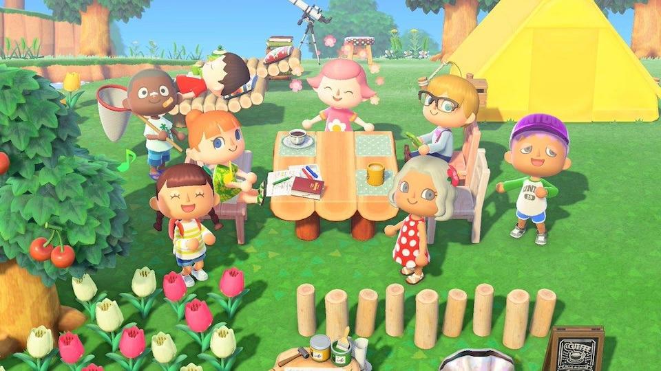 Plusieurs personnages du jeu vidéo Animal Crossing sont réunis autour d'une table en bois, à l'extérieur, et mangent ensemble.