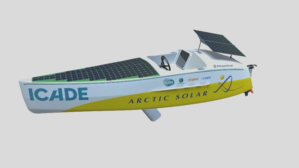 Le graphique d'un bateau avec des panneaux solaires.