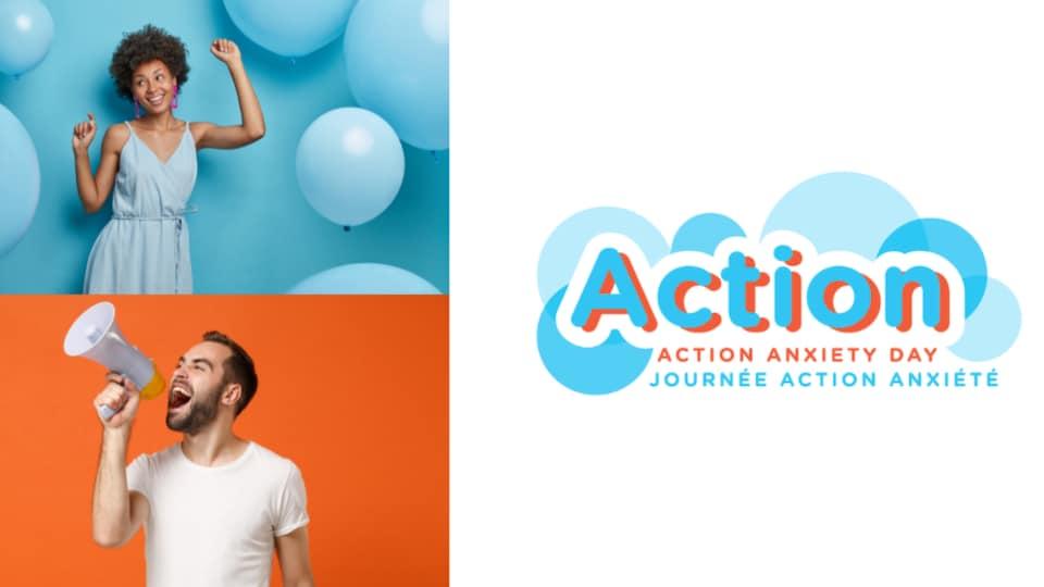 le logo de la journée action anxiété avec des gens heureux.