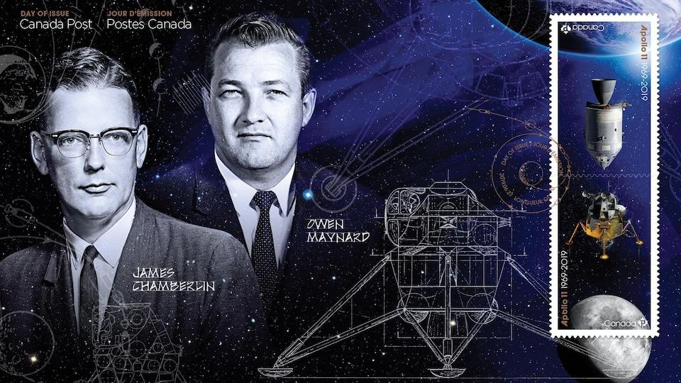 Image du timbre présentant les croquis du module lunaire et les visages des deux ingénieurs.