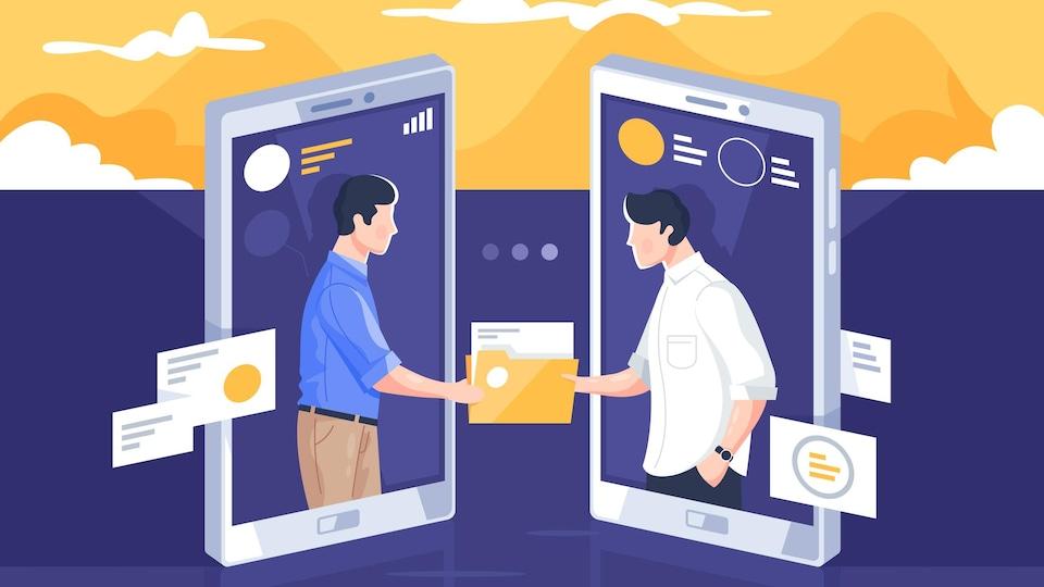 Dessin représentant deux hommes affichés sur l'écran de deux téléphones qui se transmettent un fichier.